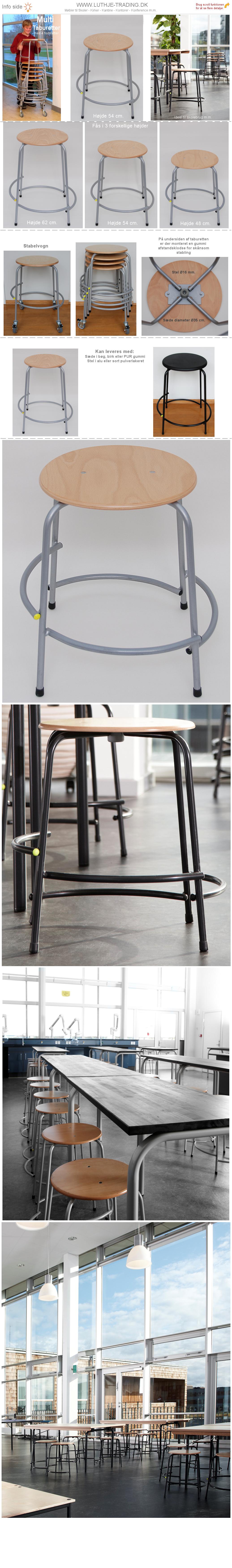 Multi Skoletaburetter højde 54 cm