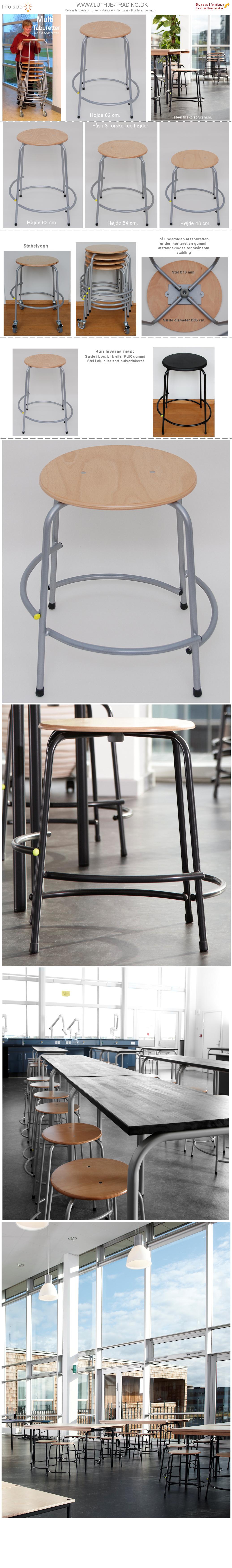 Multi Skoletaburetter højde 62 cm