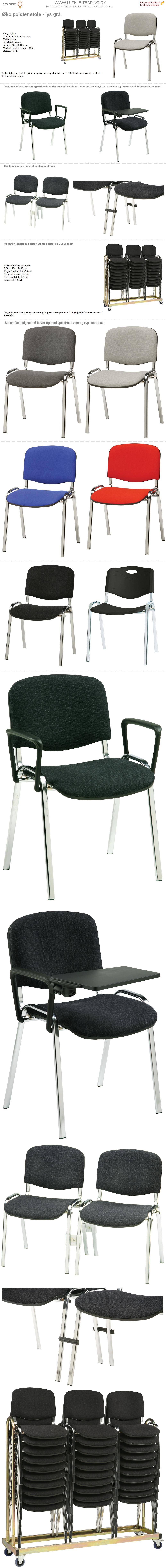 Øko stabelstole lysgrå polster